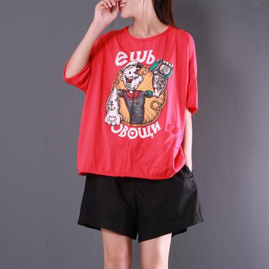 new red casual cotton blouse oversize casual t shirt o neck tops cartoon print