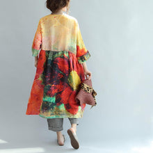 Load image into Gallery viewer, new red print plus size sundress linen casual summer dresses bracelet sleeved baggy dress
