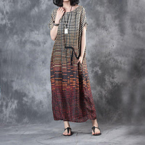 new red striped stylish linen dresses plus size casual sundress short sleeve maxi dress