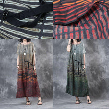 Load image into Gallery viewer, new red striped stylish linen dresses plus size casual sundress short sleeve maxi dress