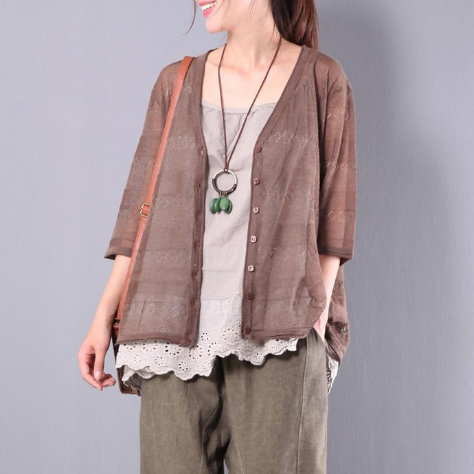 new stylish knitting cotton blouse brown oversize hollow out cardigans