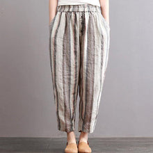 Load image into Gallery viewer, new vintage cotton linen women pants plus size elastic waist crop harem pants