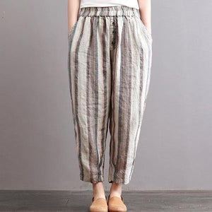 new vintage cotton linen women pants plus size elastic waist crop harem pants