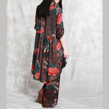 Load image into Gallery viewer, new vintage red floral silk low high tops with prints wide leg pants