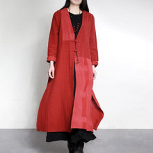 Load image into Gallery viewer, new vintage red patchwork maxi cardigans plus size Chinese Button casual trench coats