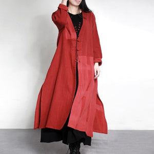 new vintage red patchwork maxi cardigans plus size Chinese Button casual trench coats