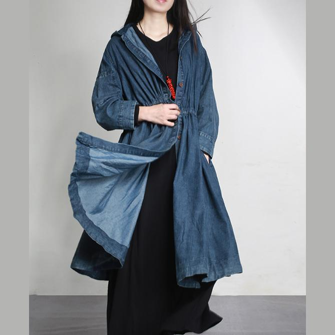 new warm denim fashion cotton outwear baggy loose hooded drawstring cardigans coats