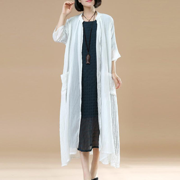new white casual cotton coats loose casual thin maxi cardigans