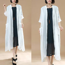 Load image into Gallery viewer, new white casual cotton coats loose casual thin maxi cardigans
