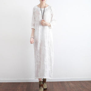 new white embroidery cotton dresses plus size loose sundress vintage long sleeve maxi dress