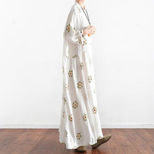 Load image into Gallery viewer, new white prints cotton maxi dress plus size casual linen dresses long sleeve gowns