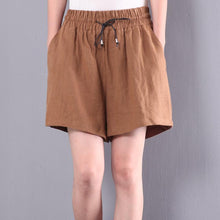 Load image into Gallery viewer, new yellow linen short plus size elastic waist hot pant