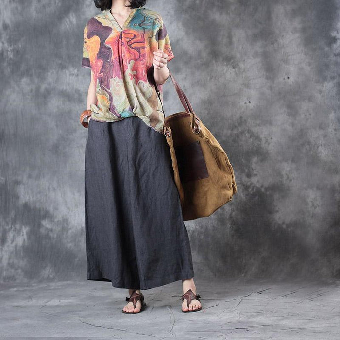 nude casual linen blouse oversize stylish tops V neck t shirt