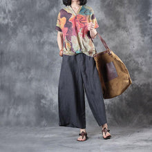 Load image into Gallery viewer, nude casual linen blouse oversize stylish tops V neck t shirt