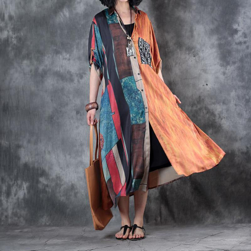 orange new asymmetric prints chiffon shirt dresses plus size casual women long cardigan