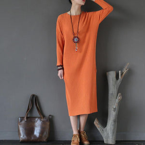 orange striped fashion sweater cotton dresses casual slim batwing sleeve knitwear maxi dress
