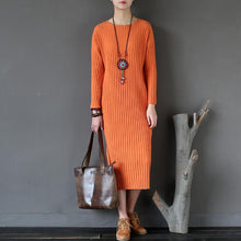 Load image into Gallery viewer, orange striped fashion sweater cotton dresses casual slim batwing sleeve knitwear maxi dress