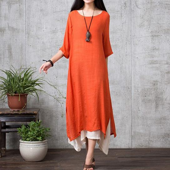 orange vintage linen dresses plus size layered sundress bracelet sleeved maxi dress