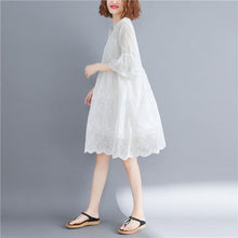 Load image into Gallery viewer, original designed white dresses o neck flare sleeve summer dress baggy dresses bridesmaid dress