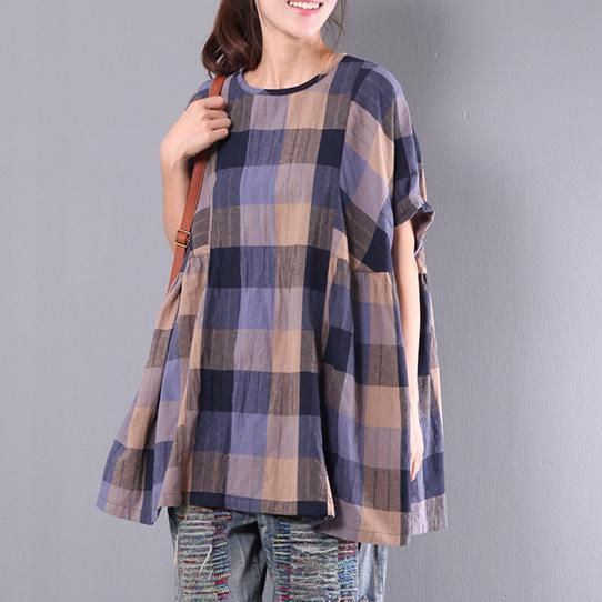 original baggy plaid casual cotton tops oversize ruffles short sleeve t shirts