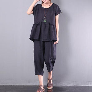 original black patchwork linen blouse casual loose pant tops and pants two pieces