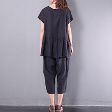 Load image into Gallery viewer, original black patchwork linen blouse casual loose pant tops and pants two pieces