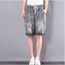 Load image into Gallery viewer, original embroidery floral shorts oversize elastic waist ripped jeans