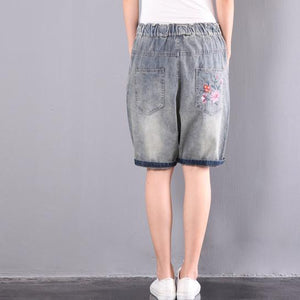 original embroidery floral shorts oversize elastic waist ripped jeans