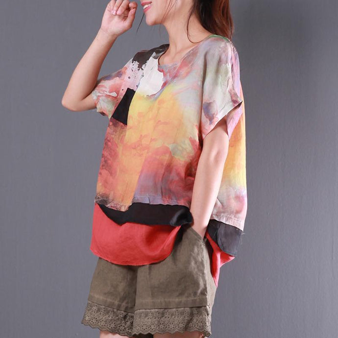 original summer multi casual patchwork linen tops layered oversize t shirt