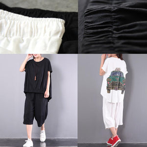 original white print cotton wrinkled t shirt and casual crop pants
