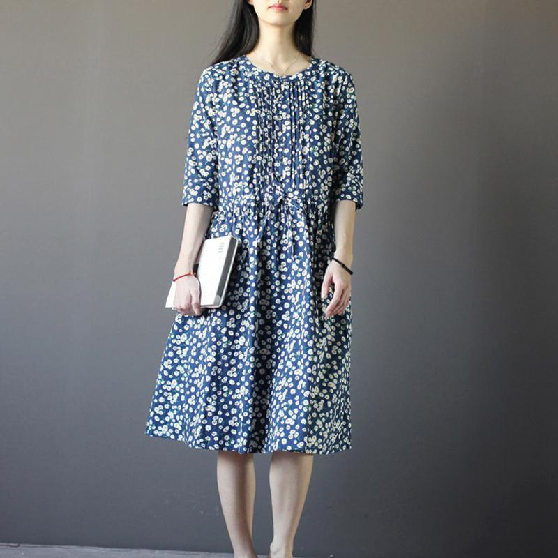 oversize cotton summer maxi dress Half sleeve blue print