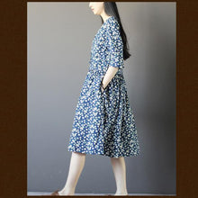 Load image into Gallery viewer, oversize cotton summer maxi dress Half sleeve blue print