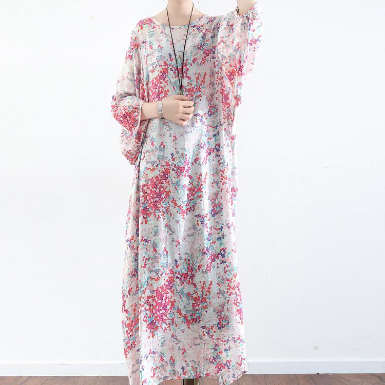 pink floral cute silk dresses plus size fall fashion 2017 casual linen dress