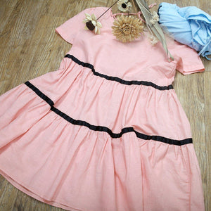 pink linen cute barbie summer shirt women loose blouse top dress