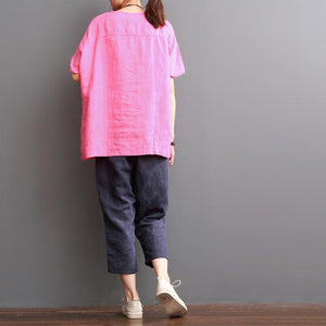 pink linen shirt short sleeve women blouse love beers
