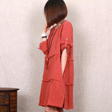 Load image into Gallery viewer, pink linen sundress oversize casual summer shift dress 3 quater sleeve