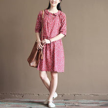 Load image into Gallery viewer, pink retro fit flare dresses summer cotton dress plus size sundresses