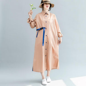 plus size clothing Turn-down Collar side open gown vintage long sleeve tie waist dresses