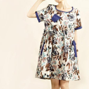 print oversize casual dress floral linen sundress cotton dresses