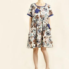 Laden Sie das Bild in den Galerie-Viewer, print oversize casual dress floral linen sundress cotton dresses