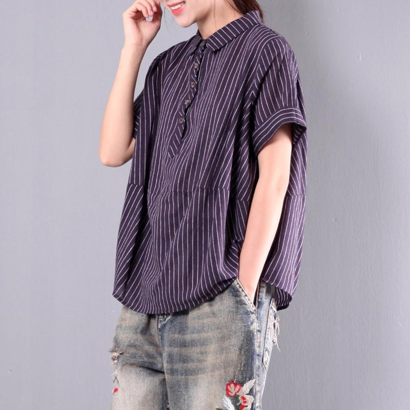 purple casual striped cotton tops oversize t shirt