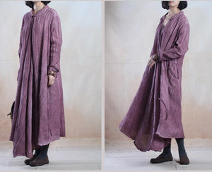 purple long linen maxi dress spring linen cardigan