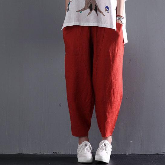 red classic linen summer women pants trousers