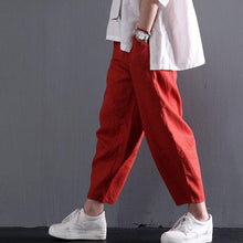 Laden Sie das Bild in den Galerie-Viewer, red classic linen summer women pants trousers