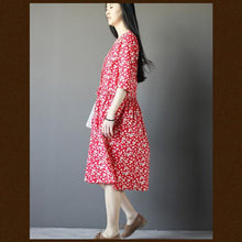 Load image into Gallery viewer, red floral cotton sundress long summer shift dress