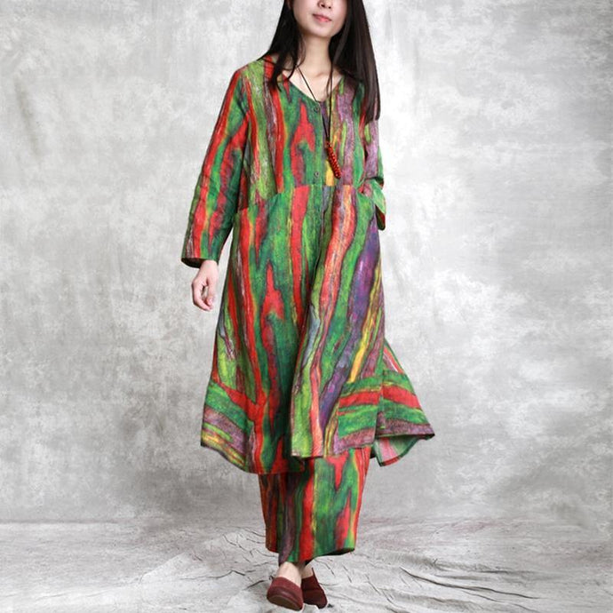 red green asymmetric striped  linen prints v neck long shirt and casual wide leg pants two pieces