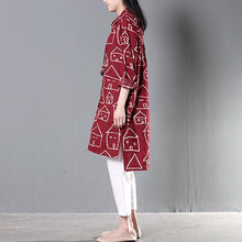 Laden Sie das Bild in den Galerie-Viewer, red happy house print sundress cotton summer shirt dresses plus size clothing