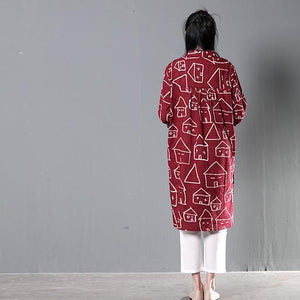 red happy house print sundress cotton summer shirt dresses plus size clothing