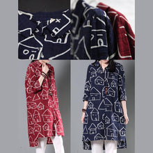 Load image into Gallery viewer, red happy house print sundress cotton summer shirt dresses plus size clothing