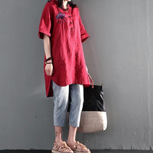 Load image into Gallery viewer, red linen sundress short summer dresses plus size maternity dress eyes, window of the heart